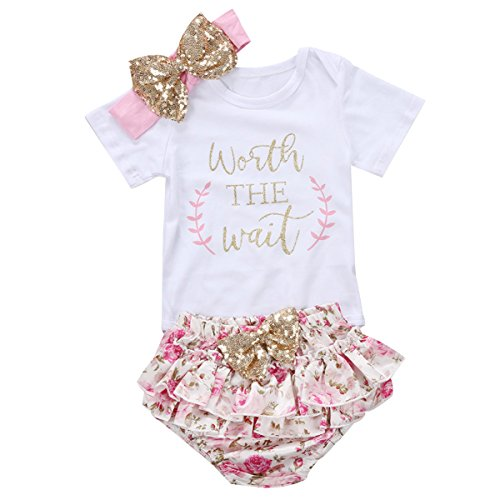 3PCS Baby Girls Short Sleeve Cotton Letters Bodysuit Top + Floral Shorts Headband Set Outfit(Worth The Wait Pink 1,0-3 Months)