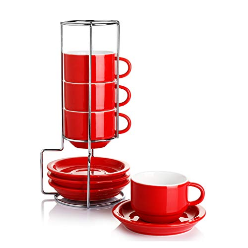 Sweese 404.404 Porcelain Stackable Espresso Cups with Saucers and Metal Stand - 2.5 Ounce - Set of 4, Red