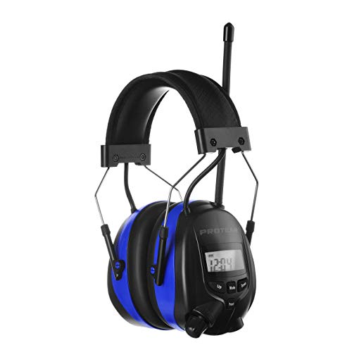 PROTEAR AM/FM Bluetooth Radio Headphones, Noise Reduction Safety Earmuffs, Rechargeable Hearing Protection for Lawn Mowing Outside Work (Blue)