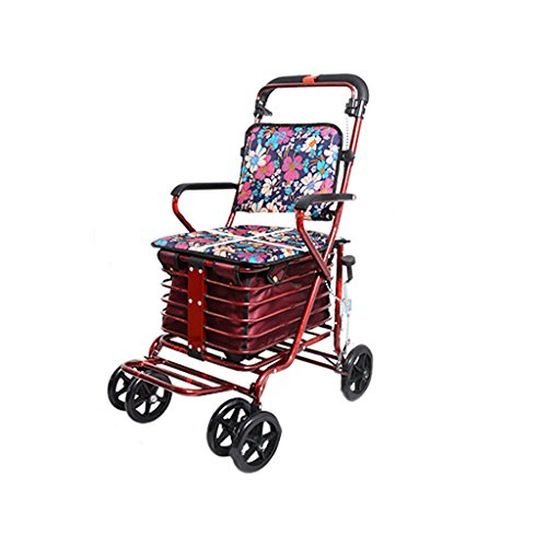 Einkaufswagen YLLXX Old Coupe Scooter Collapsible Old Trolley Chair Sitze Für Vierrädrige Einkaufen Zu Helfen, Kleine Karren (94 * 50Cm) Schieben