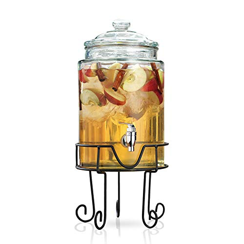 Glass Beverage Dispenser on Metal Wire Stand - Elegant Party Centerpiece, with Spigot and Lid (1.5 Gallon)