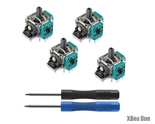 PeakLead 4PCs Analog Joystick Ersatz für Xbox One Wireless Controller, Ersatzteile 3D Thumb Stick Rocker Sensor Modul mit Schraubendreher Kit für Xbox One, One S, One X and Elite