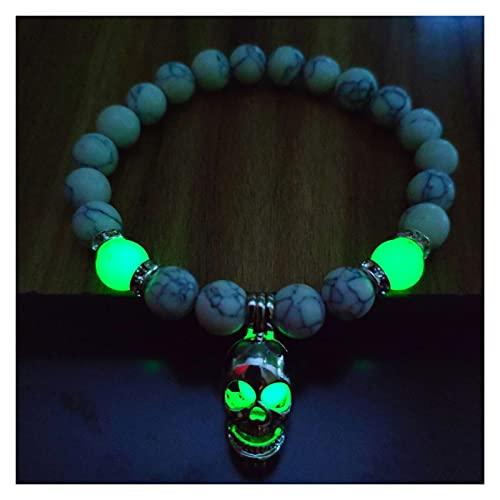 SZTUCCE 8mm natürliche Steine Leuchtend schädel anhänger Armband glühen im dunklen Charme Armband for Frauen männer Fluoreszenz schmuck Buddhismus Armband Geburtstagsgeschenke