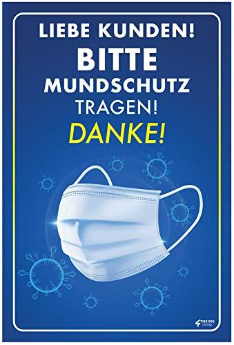 Hinweiss Schild | Zutritt Bitte Nur mit Mundschutz | PCV 3mm | 300 x 200 mm| für Supermarket, Geschafte, Krankenhaus etc. (Marineblau)