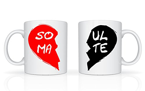 Soul Mates - Juego de tazas para parejas, diseño de novio, novio, novia, alma gemela, amante, taza de cerámica blanca de 11 onzas, gran regalo para novio, novia, amantes, marido y esposa