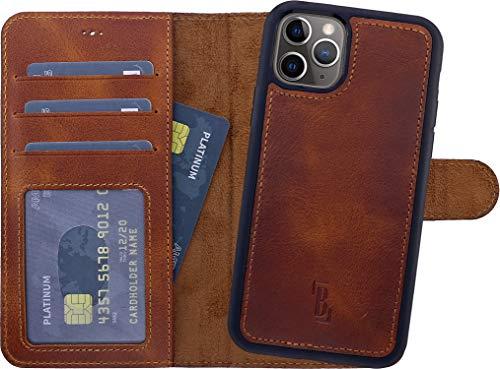 Burkley Handyhülle für iPhone 12 / iPhone 12 Pro Leder-Hülle mit Abnehmbarer Schutz-Hülle kompatibel mit Apple iPhone 12/12 Pro Hülle Cover - TÜV geprüfter RFID Schutz (Antik Sattelbraun)