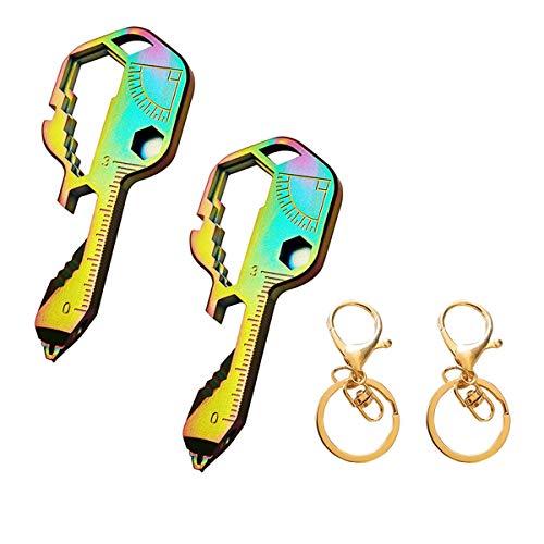 Herramienta multifuncional de acero inoxidable multifuncional con forma de llave 24 en 1 para su llavero, abridor de botellas, destornillador, regla, llave de bicicleta