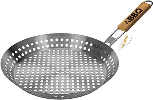 matrasa Grillpfanne gelocht - aus Edelstahl mit klappbarem Holzgriff - Ø 30 cm - BBQ Pfanne