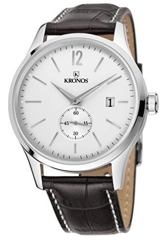 KRONOS - Elegance Silver 766.35 - Reloj de Caballero de Cuarzo, Correa de Piel marrón, Color Esfera: Plateada