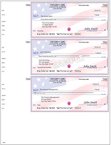 Checks For Less   Business Laser Wallet Checks Three Checks Per Page with Lines   Quick Books and Microsoft Money Compatible   Use with Laser or Inkjet Printers   American Flag 100