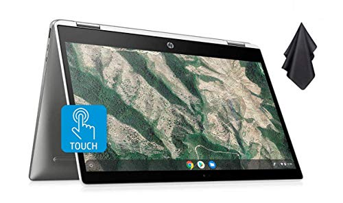 2021 Newest HP 14' x360 2-in-1 HD Touch-Screen Convertible Chromebook, Intel Celeron N4000, 4GB Memory, 32GB eMMC, WiFi, Webcam, Bluetooth 5, Chrome OS (Google Classroom Ready) + Oydisen Cloth