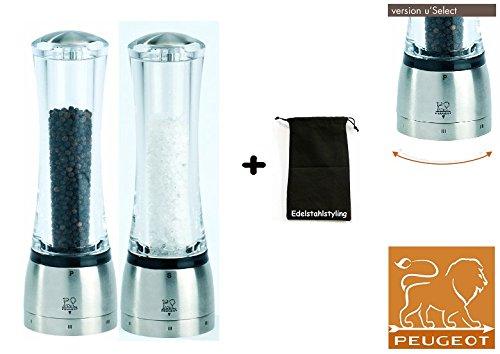 Peugeot Set DAMAN Pfeffermühle + Salzmühle uselect 21 cm + Stoffbeutel