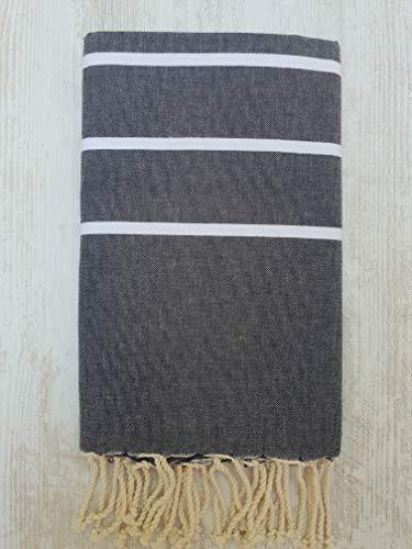 Miktex Toalla Fouta Ibiza, XL 100 x 200 cm, 100% algodón, 380 g Suave, Flexible, Absorbente y Ligera. Toalla de Playa, Mantel, sofá, Colcha, paréo, Picnic (Crudo Azul, Blanca)