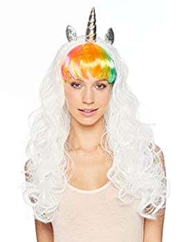 Unicorn Wig - Multi Color Rainbow Wig with Flowing White Hair - Unicorn Horn and Ears