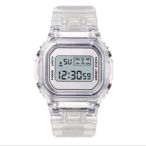 Uniqueheart Relojes de Moda Hombres Mujeres Transparente Digital Impermeable Cronógrafo Deportivo Reloj electrónico Multifuncional - Blanco