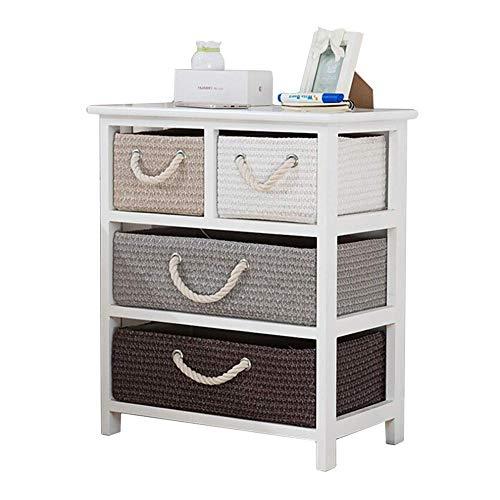 ASDAD eenvoudige nachtkastje, vier lades rotan opbergkastje, tarwe stro kist van laden, bed zijkabinet, 20x12x24 inch, Wit