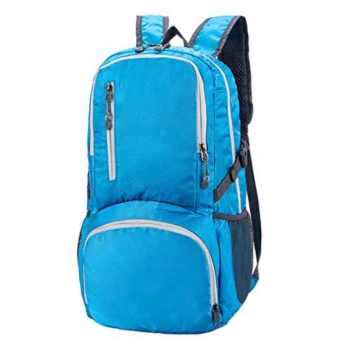 Extérieur Voyages Sac à Dos,Pliage Escalade Backpack,Imperméable Occasionnel Backpack,Randonnée Double épaule Daypack Bleu 30x18x47cm