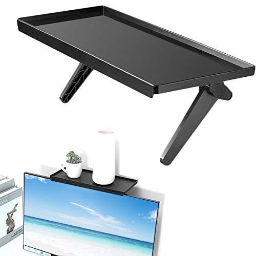 DMFSHI Screen Top Shelf, TV Top-Regal, Montagehalterung für TV-Computer Kabelbox Lautsprecher Streaming Media-Geräte Fernbedienung Spielekonsole (Schwarz)