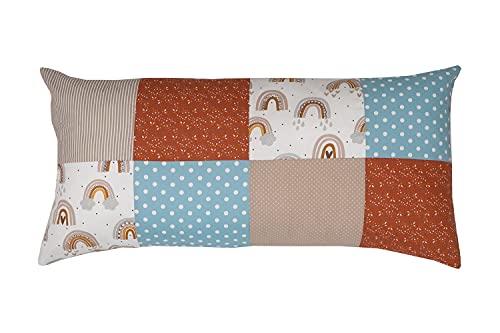 Funda patchwork para cojín de ULLENBOOM ® con Arco Iris (funda para cojín de 40x80 cm; 100% algodón; ideal como cojín decorativo o de adorno para la habitación de los niños)