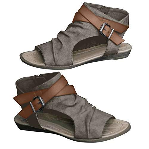 Padaleks Women's Peep Toe Low Heel Flat Sandals Hollow Ankle Strap Buckle Booties Summer Beach Travel Walking Shoes Brown