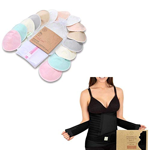 Nursing and Postpartum Mom Essential Bundle - Organic Bamboo Nursing Pads - Postpartum Belly Support Recovery Wrap - Back Support for Breastfeeding
