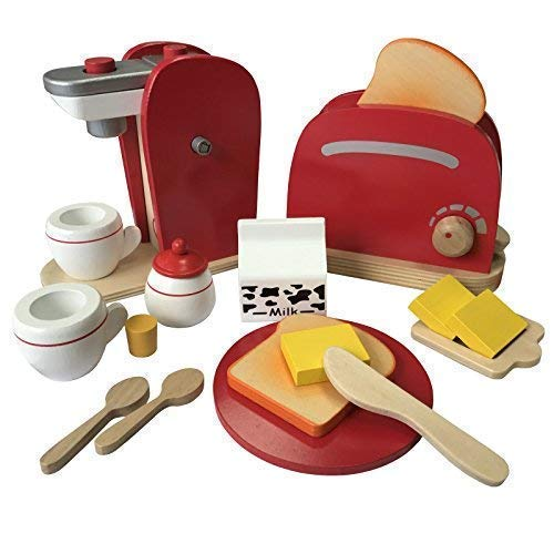 TikTakToo Frühstücksset Kinder Kaffemaschine Toaster Spielset aus Holz mit viel Zubehör für das erste Frühstück passend zu Allen Kinderspielküchen Kinderküchen Spielzeug (Kaffemaschine & Toaster Set)