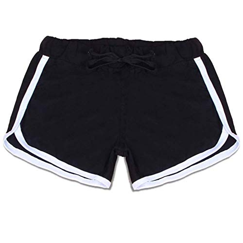 WICHENG Femmes Sport Yoga Shorts Workout Fitness Course Sport Femme Shorts Coton Taille Haute Gym Vélo Sport Shorts (Couleur : BW, Size : M)