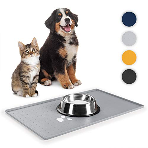 EVERANIMALS rutschfeste Napfunterlage Hund Katzen - Silikonmatte Fressnapf-Unterlage, 60x40cm