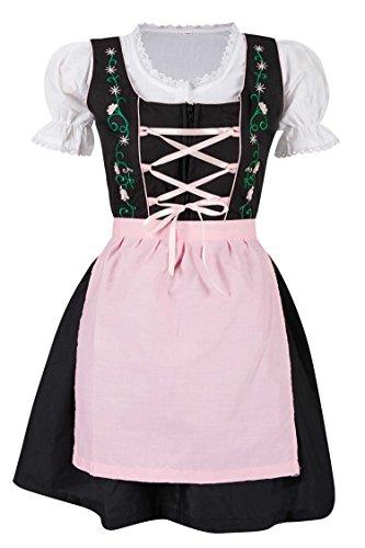 MS-Trachten 3 teiliges Kinder Dirndl Trachtenkleid Steffi (128, rosa)