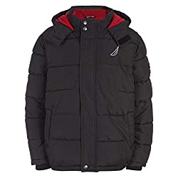 top rated Nautica Baby Boy's Fleece Lined Bubble Jacket Hooded Outerwear, Black, 12M 2021