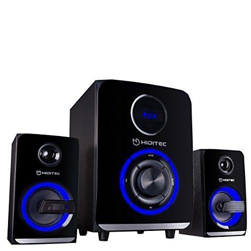 Hiditec | Potentes Altavoces H500 100W RMS | Altavoz con USB | Altavoz con Radio FM| Sistema de Sonido 2.1 (Bluetooth 4.1, USB, SD, 100W RMS, Line-In, Radio) | Potente Sonido 100w
