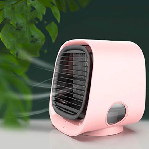 Mini draagbare airconditioner, persoonlijke ruimte Mobiele luchtkoeler, desktop koelventilator en luchtreiniger met 3 snelheden en LED-nachtlampje voor thuis, kamer, kantoor,Pink