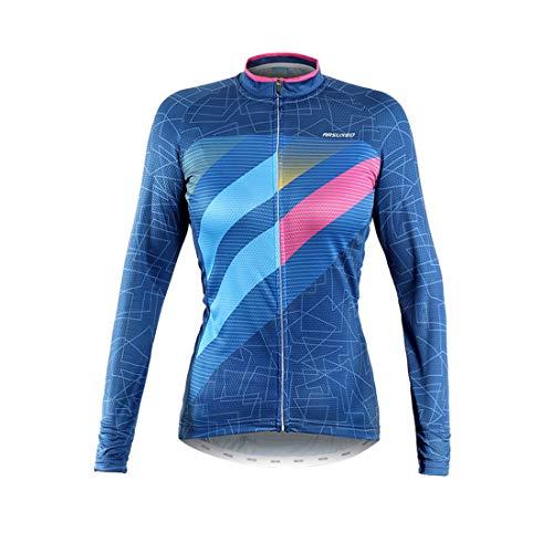 GWELL Damen Radtrikot Langarm Trikot Sporthemd MTB Fahrradbekleidung Reflektierende Shirts für Radsport Outdoor Blau S