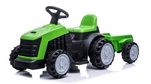Indalchess Tractor ELÉCTRICO Infantil 6V con Remolque, Verde (SIN Mando RC Parental)