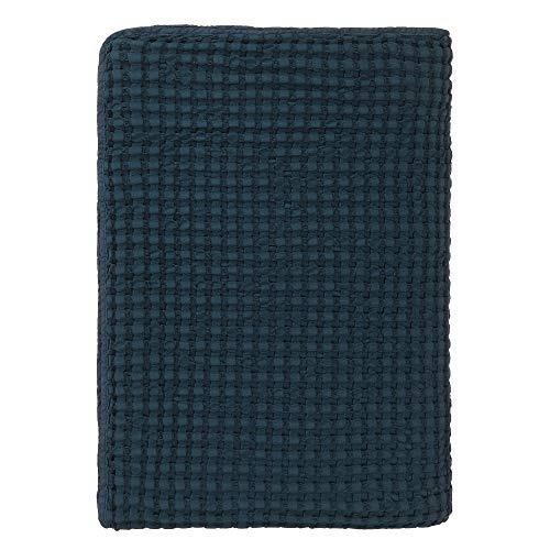 """URBANARA Tagesdecke """"Lixa"""" – 100% Reine Baumwolle, Petrol, texturiertes Fischgrat – 275 x 265 cm, Überwurf, Decke, Bettüberwurf, Sofaüberwurf, Baumwolldecke"""
