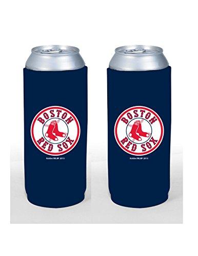 MLB Baseball Team Color Logo Tall Boy 24oz Neoprene Can Holder Sleeve Cooler 2-Pack (Boston Red Sox)