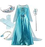 IWFREE Déguisements Princesse Elsa Petites Filles Robe Manches Longues Princesse Reine...