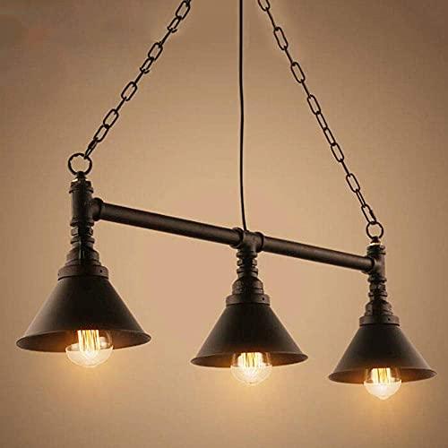 PXY Tubería de Agua Retro Candelabro de Metal de Tres Cabezas E27 Lámpara Colgante de Hierro Edison Lámpara de Techo de 33.49 * 7.49 Pulgadas Adecuado para Restaurante Ático Café Mesa de Billar Bar I