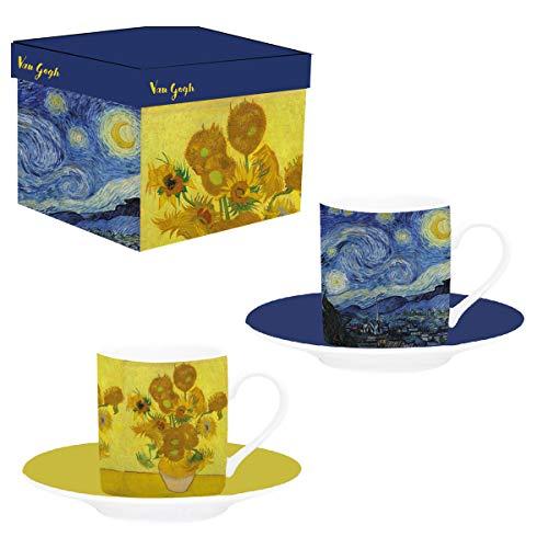 """Van Gogh, 2 tazas con dibujos de """"La Noche Estrellada"""" y """"Los Girasoles"""", Enesco"""