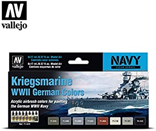 Vallejo 71615 Model Air Kriegsmarine WWII German Colors 8 Colour Acrylic Airbrush Paint Set