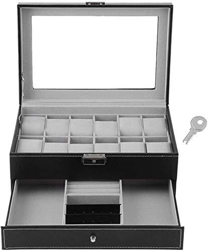 Multifunctional Reloj Caja de almacenamiento 2 capas 12 Slots Relojes de joyería Display Caja de almacenamiento de tapa de vidrio con llave con cajón de joyería Caja de visualización de reloj negro (C
