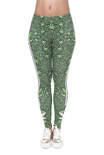 Hanessa Frauen Leggins Grün Schwarz Bedruckte Leggings Geschenk zu Weihnachten Hose Frühling Sommer Kleidung Marihuana Dope L45
