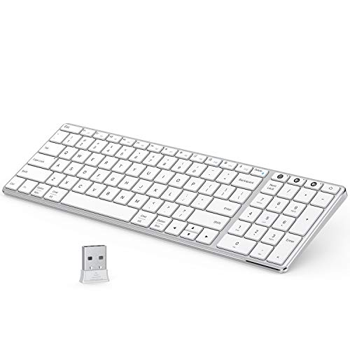 Multi-Device Bluetooth Keyboard Metal, Jelly Comb Dual Mode Rechargeable 2.4G Wireless & Bluetooth Keyboard with Number Pad Switch to 3 Devices for PC Laptop Desktop Tablet iOS Windows-White Silver
