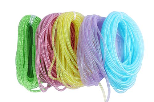 YYCRAFT 75 Yards Mesh Tube for Craft Deco Flex for Wreaths Cyberlox CRIN Crafts 8mm 3/8-Inch Easter Day,5 Colors