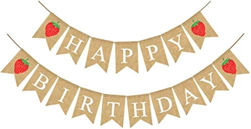Banner de feliz cumpleaños Banderines de arpillera Banderines de yute Vintage Guirnaldas para decoraciones de fiesta de cumpleaños - Estilo 1