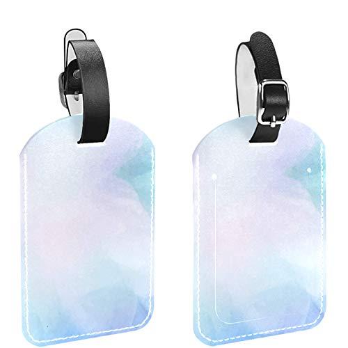 Paquete de 2 etiquetas de equipaje para maletas – Juego de etiquetas de identificación de viaje para bolsas y equipaje (diseño de bricolaje) vibrante acuarela azul
