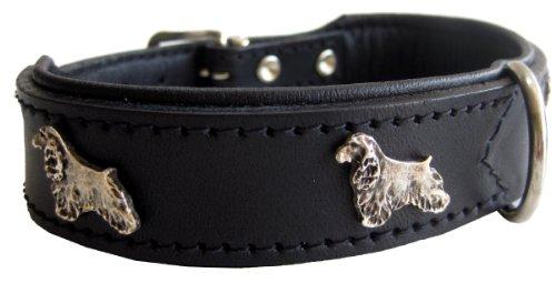 Dogs Stars Robustes Lederhalsband mit Cocker Spaniel - 42 x 2,6cm - schwarz Top Qualität