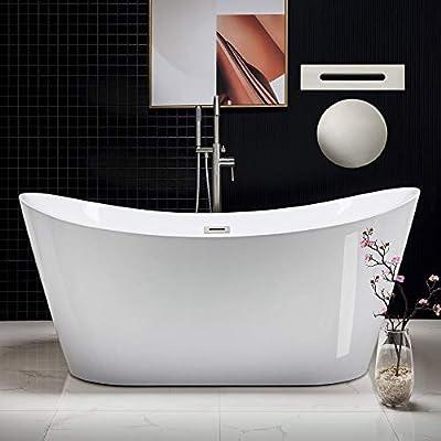 "WOODBRIDGE 67"" Freestanding Bathtub Contemporary Soaking Tub, White Acrylic (Brushed Nickel Drain/Overflow),B-0010 B/N-Drain &O"