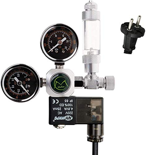NICREW CO2 Druckminderer Aquarium, CO2 Druckregler mit 2 Manometer, Magnetventil und Blasenzähler für Aquarium