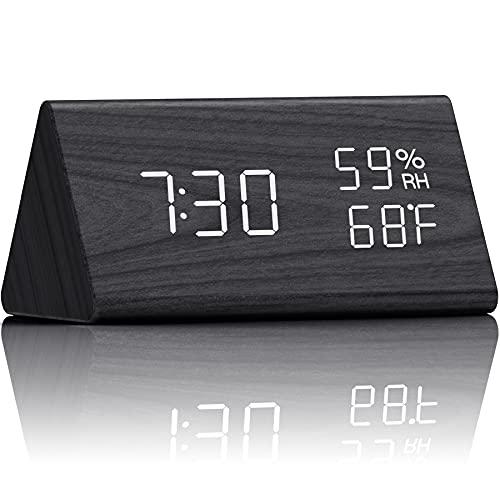 Digital Alarm Clock Electronic LED Time Display 3 Alarm Settings Adjustable Brightness Humidity &...
